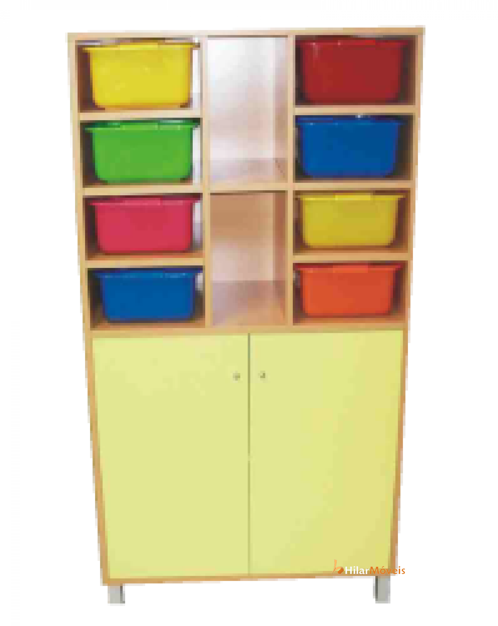 Móvel Aberto na Parte Superior com Caixas e 2 Portas na Parte Inferior