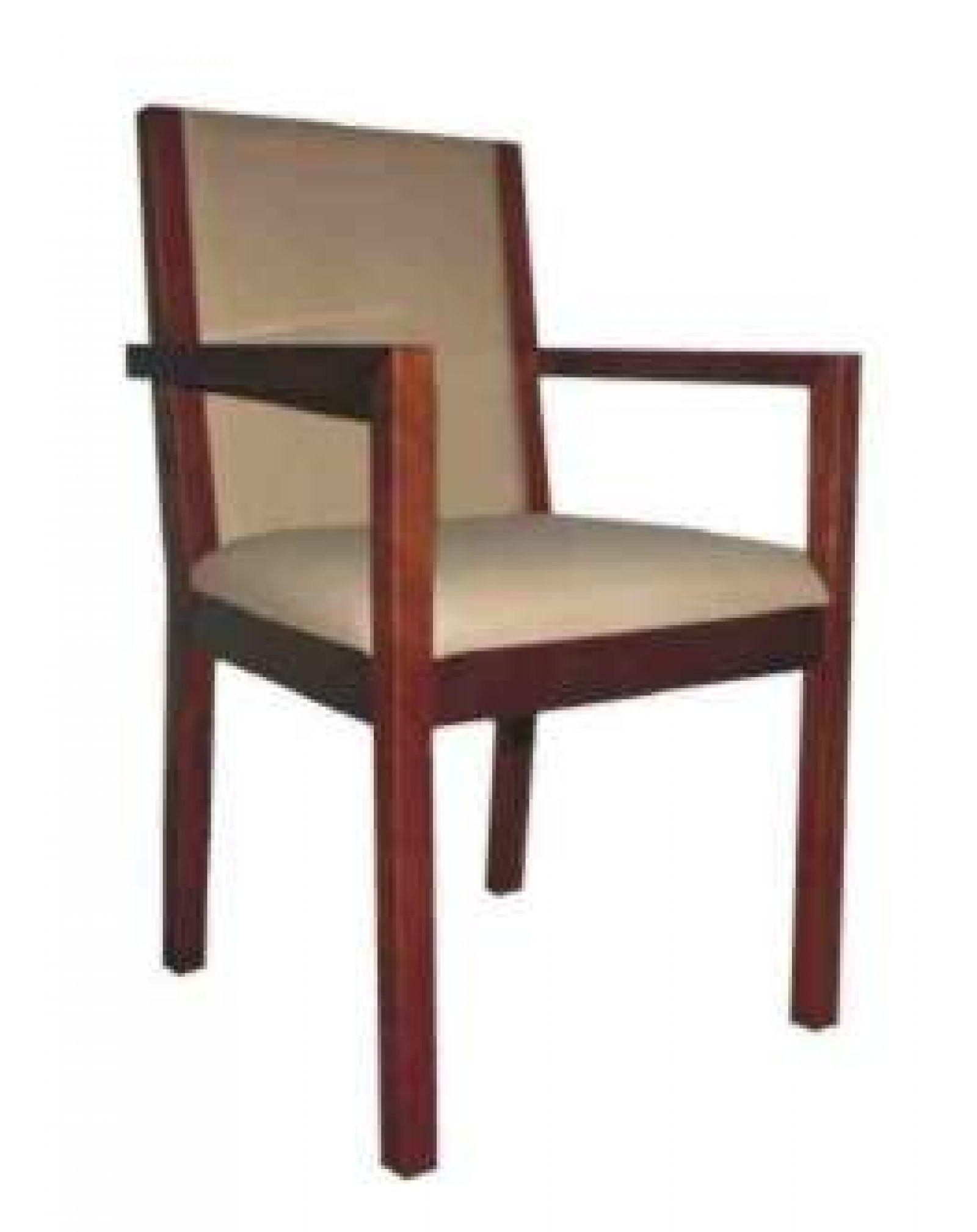 Cadeira Fixa em Madeira com Assento e Costa Estofada